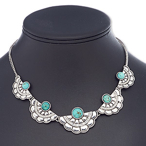 necklace, magnesite (dyed / stabilized) with antique silver-plated steel and pewter (zinc-based alloy), turquoise blue, 29x19mm-40x27mm graduated fan, 16 inches with 2-inch extender chain and lobster claw clasp. sold individually.