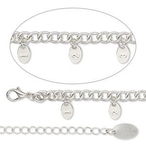 necklace measuring chain, silver-finished steel, 5.4mm curb, 36 inches with 9x6mm tags and 3-inch extender chain with lobster claw clasp. sold individually.