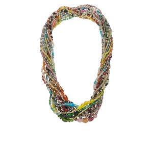necklace mix, glass, mixed colors, 3-10mm multi-shape, 27-inch continuous loop. sold per pkg of 12.