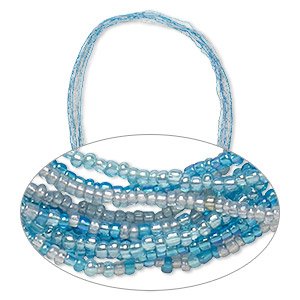 necklace mix, glass seed beads, opaque blue tones with ab finish. sold per pkg of ten 36-inch continuous loops.