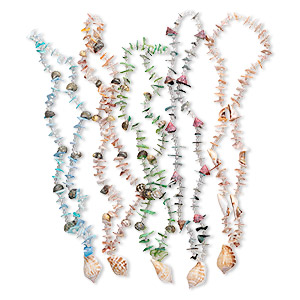 necklace mix, multi-shell (natural / dyed), multicolored, 4-38mm with centerpiece shell and acrylic ab spacers, 25-inch continuous loop. sold per pkg of 5.