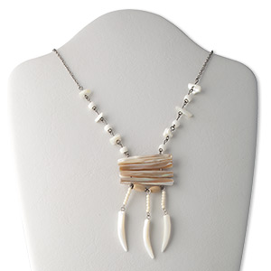 necklace, mother-of-pearl shell / freshwater pearl shell (bleached) / acrylic / gunmetal-finished brass and steel, white / brown / black, 33x6mm talon and 45x7mm stick, 16 inches with 2-inch extender chain and lobster claw clasp. sold individually.
