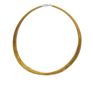necklace, nylon-coated stainless steel and imitation rhodium-plated sterling silver, gold, 48-50 strand, 16-inch. sold individually.