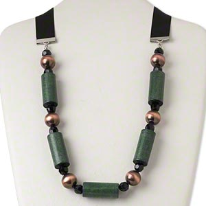 necklace, silver-finished steel / ribbon / wood (dyed) / antiqued copper-coated plastic / acrylic, black and green, 35x15mm tube, adjustable up to 50 inches with tie closure. sold individually.