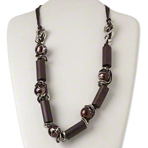 necklace, silver-finished steel / waxed cotton cord / plastic / silver-coated plastic / wood (dyed), dark brown, 35x14mm tube, 28 inches with 2-inch extender chain and lobster claw clasp. sold individually.