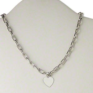 necklace, silver-plated brass, 19x19mm flat heart, 18 inch link chain with lobster claw clasp. sold individually.