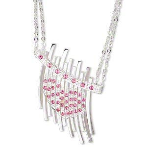 necklace, silver-plated brass and glass rhinestones, pink and crystal clear, 34x32mm focal with heart design, 16-inch double cable chain with 3-inch extender chain and silver-plated brass lobster claw clasp. sold individually.