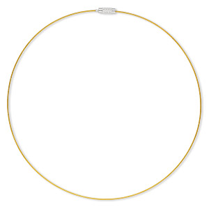 necklace, vinyl-coated stainless steel and imitation rhodium-plated steel, gold, 1mm round, 18 inches with twist clasp. sold per pkg of 6.