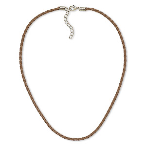 necklace, vinyl with imitation rhodium-plated brass and steel, taupe, 3mm round, 16 inches with 2-inch extender chain and lobster claw clasp. sold per pkg of 6.