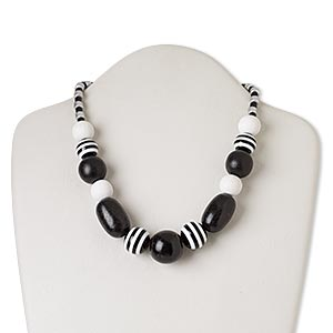 necklace, wood / resin / silver-finished brass, black and white, 16 inches with barrel clasp. sold individually.