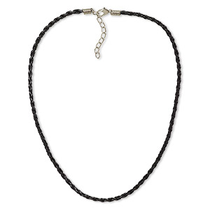 necklace, woven vinyl with imitation rhodium-plated brass and steel, black, 3mm round, 16 inches with 2-inch extender chain and lobster claw clasp. sold per pkg of 6.