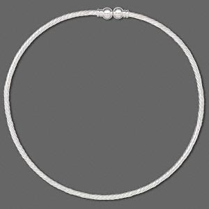 neckwire, silver-plated brass, 3.5mm twisted wire, 7.5mm ball ends, 16 inches. sold individually.