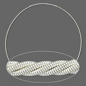 neckwire, sterling silver and steel, 2.5mm twisted coil, 24 inches with 3mm friction clasp. sold individually.