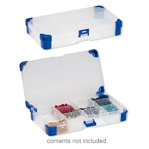 organizer, acrylic and rubber, clear and blue, 8 x 4-1/4 x 1-1/4 inch rectangle, 5-12 adjustable compartments. sold individually.