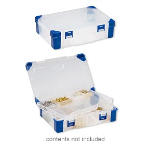 organizer, acrylic and rubber, clear and blue, 9 x 6-1/4 x 2-1/4 inch rectangle with tray insert, 3-9 adjustable compartments. sold individually.