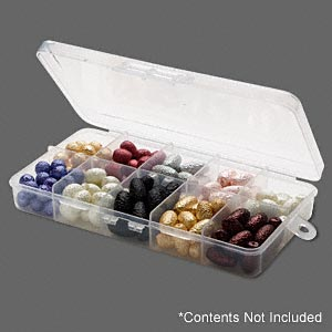 organizer box, plastic, clear, 10-cells, 7x3-3/4x1 inch. sold per pkg of 2.