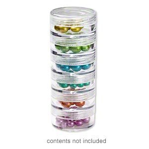 organizer jar, space saver, plastic, clear, 1-1/2 x 2/3 inches. sold per 6-piece set.