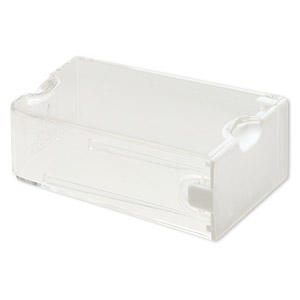 organizer, large containers™, bead storage solutions™, plastic, clear and opaque off-white, 3 x 2 x 1-1/8 inches. sold per 3-piece set.