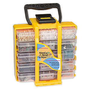 organizer, need a bead now™, black and yellow, 8 x 7 x 4-1/2 inches, 22 compartments. sold individually.