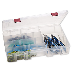 organizer, plano, plastic, clear, 14 x 2-3/4 x 8-1/2 inch box, 5-20 compartments. sold individually.