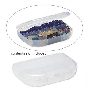 organizer, plastic , frosted, 4-3/4x3-1/4 inch rectangle, 5 compartments. sold per pkg of 2.