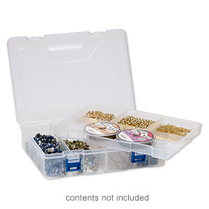 organizer, plastic, frosted clear and blue, 8-3/4 x 6 x 2-1/4 inch rectangle with 8 compartments and removable tray with hang tab. sold individually.