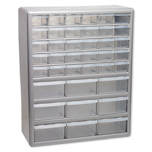 organizer, stack-on, plastic, clear and silver, 18-1/2 x 14-7/8 x 6-3/8 inches, 39 drawers. sold individually.