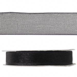 organza ribbon, nylon, black, 1/2 inch. sold per 33-yard spool.