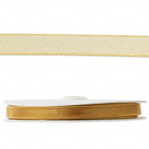organza ribbon, nylon, gold, 1/4 inch. sold per 33-yard spool.