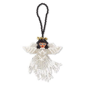 ornament, glass, multicolored, 2-3/4 x 2 inch seed-beaded double-sided angel. sold individually.
