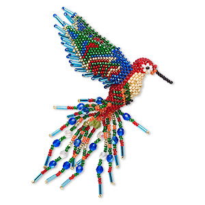 ornament, glass, multicolored, 5-1/2 inch seed-beaded hummingbird. sold individually.