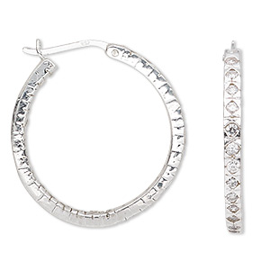 Hoop Earrings Sterling Silver Silver Colored