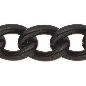 Chain Anodized Aluminum Black 16mm Curb Sold Per Pkg