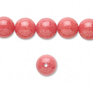 Bead Mountain Quot Jade Quot Dyed Coral Red 10mm Round B