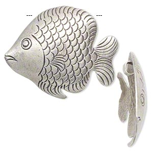 Focal, Hill Tribes, antiqued fine silver, 33x29mm fish. Sold individually.