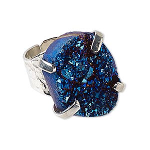 Finger Rings Druzy Agate Blues
