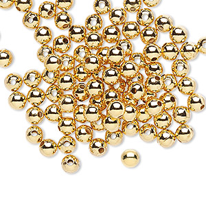 Bead, gold-plated brass, 4mm smooth round. Sold per pkg of 100.