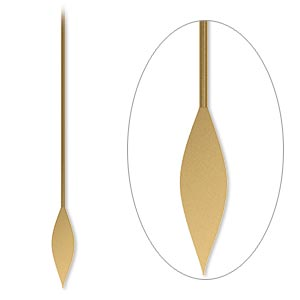 paddle pin, antique gold-plated brass, 2 inches with spear, 22 gauge. sold per pkg of 100.