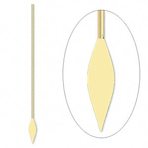 paddle pin, gold-plated brass, 2 inches with spear, 22 gauge. sold per pkg of 100.