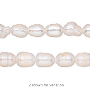 pearl, cultured freshwater (bleached), white, 6-7mm rice, d grade, mohs hardness 2-1/2 to 4. sold per 14-inch strand.