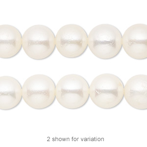 pearl, cultured freshwater (bleached), white, 9-10mm potato, c grade, mohs hardness 2-1/2 to 4. sold per 16-inch strand.