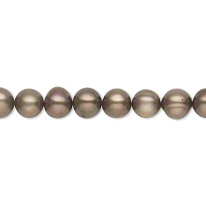 pearl, cultured freshwater (dyed), antique brown, 6-7mm semi-round, c grade, mohs hardness 2-1/2 to 4. sold per 16-inch strand.