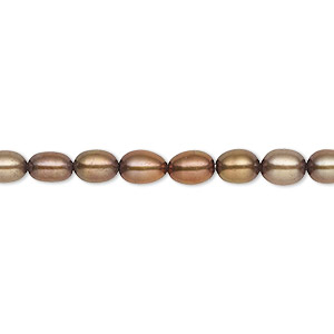 pearl, cultured freshwater (dyed), antique copper, 4-5mm rice, c grade, mohs hardness 2-1/2 to 4. sold per 16-inch strand.