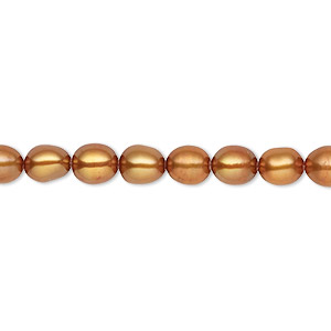 pearl, cultured freshwater (dyed), antique copper, 5-6mm rice, c grade, mohs hardness 2-1/2 to 4. sold per 16-inch strand.