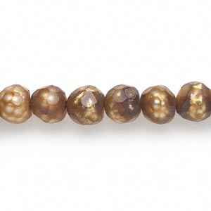 pearl, cultured freshwater (dyed), antique gold, 7-8mm faceted semi-round, d grade, mohs hardness 2-1/2 to 4. sold per 16-inch strand.