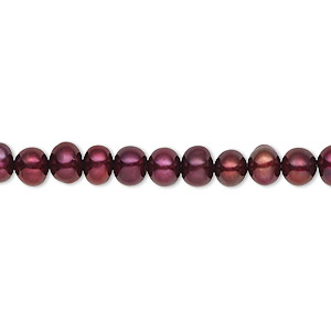 pearl, cultured freshwater (dyed), black cherry, 4-5mm semi-round, c grade, mohs hardness 2-1/2 to 4. sold per 16-inch strand.