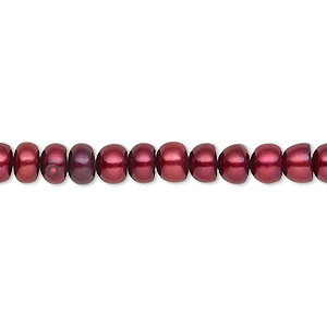 pearl, cultured freshwater (dyed), black cherry, 5-6mm button, c grade, mohs hardness 2-1/2 to 4. sold per 16-inch strand.