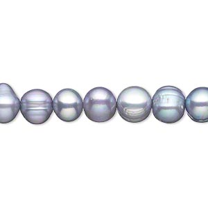 pearl, cultured freshwater (dyed), blue-grey, 7mm semi-round, c- grade, mohs hardness 2-1/2 to 4. sold per 15-inch strand.