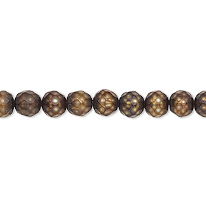 pearl, cultured freshwater (dyed), bronze, 5-6mm faceted semi-round, c grade, mohs hardness 2-1/2 to 4. sold per 16-inch strand.