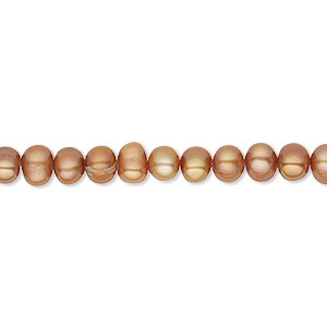 pearl, cultured freshwater (dyed), copper, 4-5mm semi-round, c grade, mohs hardness 2-1/2 to 4. sold per 16-inch strand.
